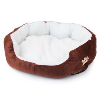 ペット用ベッド もこもこ ぐっすり眠れる 犬猫 兼用 サイズS (ブラウン)