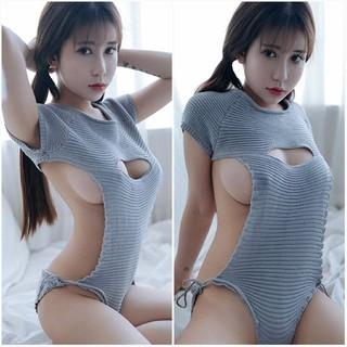 【新品☆送料無料♡】大胆過激!胸開けバックレス セクシーニットワンピ 水色FS