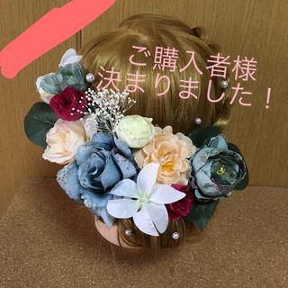 No.31 アンティークブルーローズ  フラワーピン(ヘアピン)