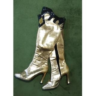 レディース大きいサイズゴールドエスニック柄ブーツ(ブーツ)
