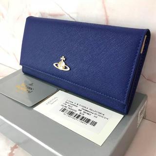 ヴィヴィアンウエストウッド(Vivienne Westwood)の新品未使用⭐︎ブルー⭐︎かぶせ長財布⭐︎ヴィヴィアン⭐︎箱・カード付(財布)