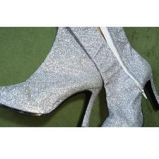 レディース大きいサイズシルバーラメ素材の超ロングブーツ(ブーツ)