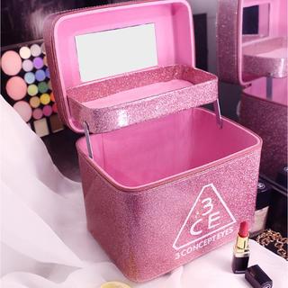 即購入ok メイクボックス コスメ収納 鏡付き 新品 ピンク