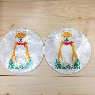 カピス貝  柴犬コースター 2枚セット