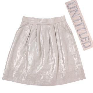 アンタイトル(UNTITLED)のUNTITLED リネンスカート size2 ベージュ アンタイトル(ミニスカート)