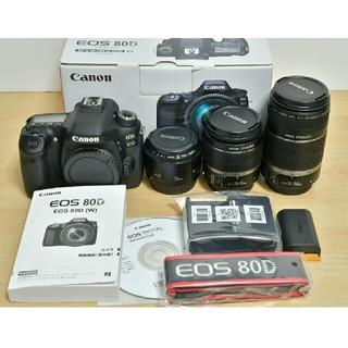 キヤノン(Canon)の保証期間内 Canon EOS 80D 標準&望遠&単焦点トリプルレンズセット(デジタル一眼)