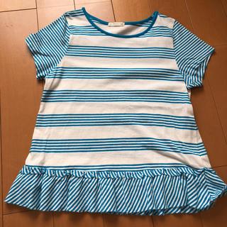 ジーユー(GU)のGU  140 ボーダー Tシャツ 水色(Tシャツ/カットソー)