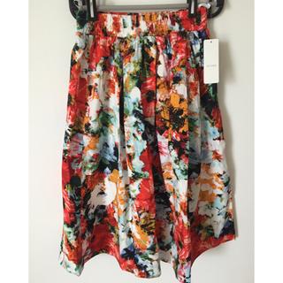 シマムラ(しまむら)のしまむら  ミモレ丈 コットン フレアスカート  花柄 水彩柄 オレンジ  M(ひざ丈スカート)