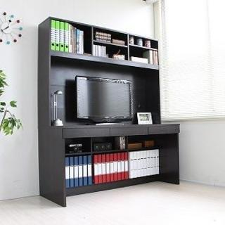 新品 パソコンデスク 上下大型書棚付 140cm ダークブラウン