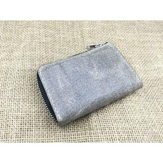 手のひらサイズ!外ポケット付きミニL字ファスナー財布【豚革ライトグレー】(財布)
