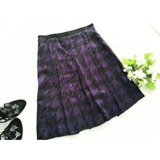 アンタイトル(UNTITLED)のアンタイトル★千鳥チェック柄ボックスプリーツロングスカート 1 黒 紫(ひざ丈スカート)