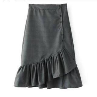 ザラ(ZARA)のザラ ZARA グレンチェック フリルスカート(ロングスカート)