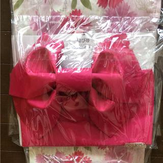 シマムラ(しまむら)の浴衣セット 白地 ピンクコスモス花柄 新品未使用 154cm-168cm (浴衣)