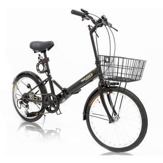 SHIMANO - 折りたたみ自転車 20インチ シマノ製6段変速ギア[ブラック]