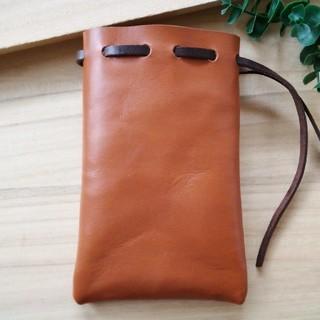 革の巾着袋 (小) Brown (その他)