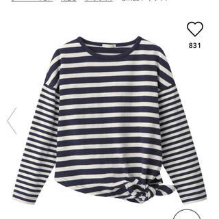 ジーユー(GU)のgu ジーユー ボーダートップス girls(Tシャツ/カットソー)