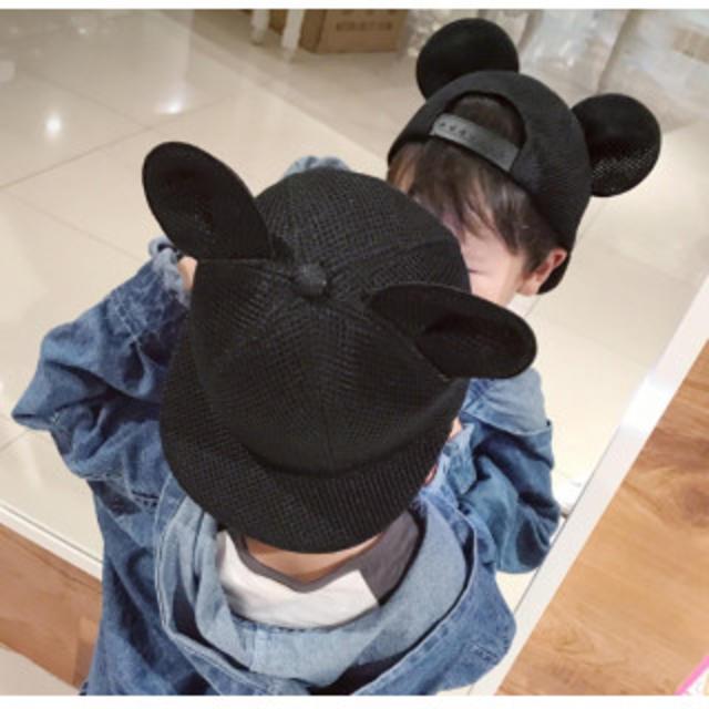 f18242f6f0bd5 子供 ミッキー 風 耳付き 帽子 メッシュ 51-54cmの通販 by hana's shop ...