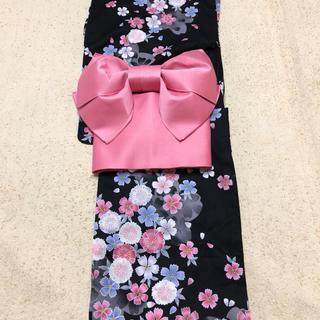 しまむら - 浴衣 ナデシコ柄 作り帯と帯付きの3点セット