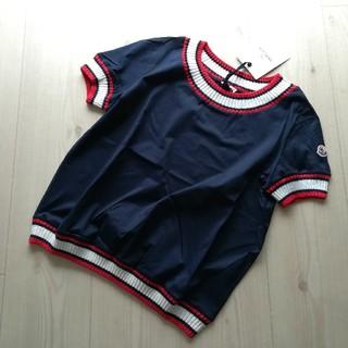 モンクレール(MONCLER)のサイズS  ネイビー トリコロールリブのTシャツ モンクレール(Tシャツ(半袖/袖なし))