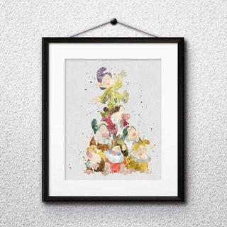 ディズニー(Disney)の日本未発売!七人の小人(白雪姫)アートポスター【額縁つき・送料無料!】(ポスター)