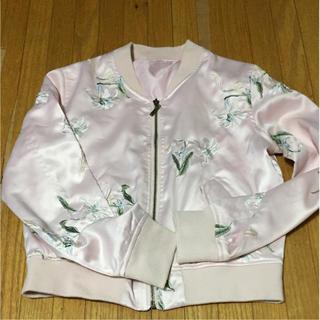 花刺繍 サテンブルゾン ピンク(ブルゾン)