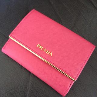 PRADA - 新品未使用 プラダ サフィアーノミニ折財布 2 3つ ペオニアピンク 長バッグ