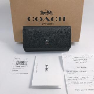 コーチ(COACH)の新品!COACH  レザー キーケース Black/CM(キーケース)
