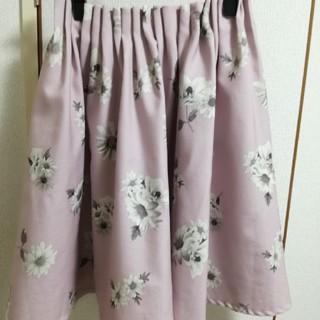 アストリアオディール(ASTORIA ODIER)のアストリアオディール フラワープリントスカート ピンク 大人可愛い 花柄(ひざ丈スカート)