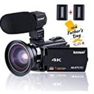 Kenuo デジタル4Kビデオカメラ WIFI機能 広角レンズ+外付マイク搭載版(ビデオカメラ)