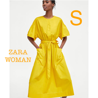 ザラ(ZARA)の新品未使用 ZARA ウエストリボン ミディ ワンピース S(ひざ丈ワンピース)