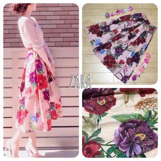 ZARA - ザラ フローラル ミモレ丈 花柄 スカート