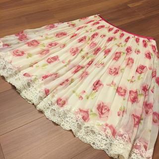 アールユー(RU)の花柄スカート 美品(ひざ丈スカート)