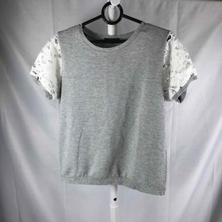 シマムラ(しまむら)のしまむらSorridere 袖穴あきレースTシャツ Lサイズ 薄グレー(Tシャツ(半袖/袖なし))