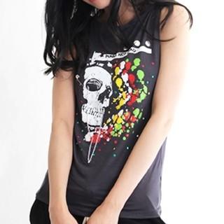 ファンキーフルーツ(FUNKY FRUIT)のDrug honey★新品★安ピン&チェーン付スカルプリタンク/ 黒(Tシャツ(半袖/袖なし))