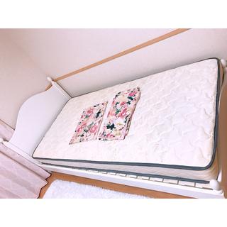 姫系ベッドフレーム マットレス付き(シングルベッド)