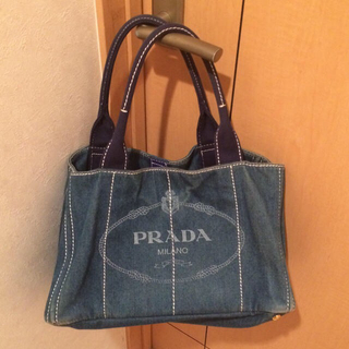 PRADA - 【PRADA】プラダ ブルーデニム トートバッグ Ⓜ️
