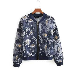 【新品未使用】シースルー フラワー刺繍 花柄 ブルゾン サイズS(ブルゾン)