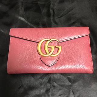 Gucci - 正規品GUCCI GGマーモント 二つ折り 長財布 ピンク