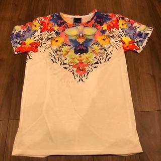 ザラ(ZARA)のZARA ザラ  部分花柄 軽量 Tシャツ (Tシャツ/カットソー(半袖/袖なし))
