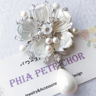 春色ブローチ スカーフ留め パール 母の日  真珠母貝 卒業式 BR187172(ブローチ/コサージュ)
