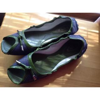 トッズ(TOD'S)のトッズ レディース ドライビングシューズ 8 ペタンコ 靴 ネイビー×グリーン(サンダル)