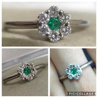 PT900 綺麗な色味 エメラルドダイヤモンドリング