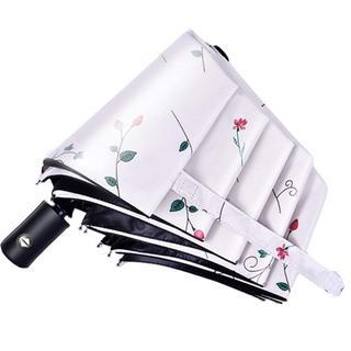 QIJOVO 折り畳み傘 ワンタッチ自動開閉 高強度 8本骨 折りたたみ傘 花柄(傘)