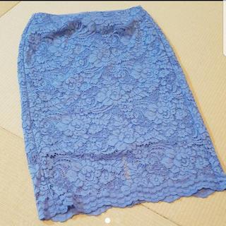 ジーユー(GU)の美品 レースタイトスカート(ひざ丈スカート)