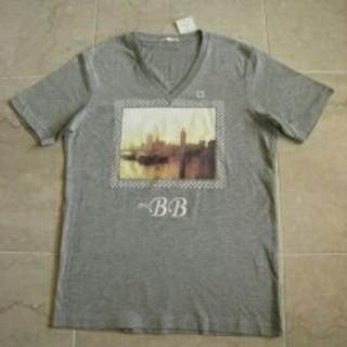 ジーユー(GU)のジーユー★gu★グラフィックTシャツ★グレー★Vネック★(Tシャツ/カットソー(半袖/袖なし))