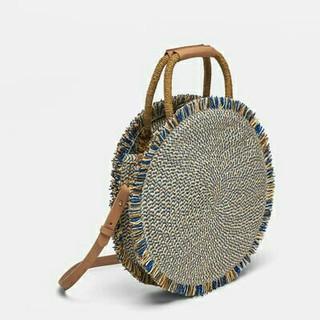 ザラ(ZARA)のZARA ラウンド編み込みバスケット ラフィアバッグ かごバッグ(かごバッグ/ストローバッグ)