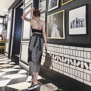 レザーベルト×ポケット💚カーゴパンツ 2018夏 韓国ファッション(ワークパンツ/カーゴパンツ)