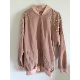 ピンク スタッヅ付きジャケット(ブルゾン)