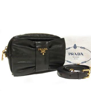 PRADA - 正規 ほぼ未使用 プラダ 2WAY リボン レザー ショルダーバッグ ポシェット