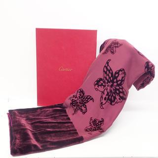 カルティエ(Cartier)の【極美品】カルティエ ストール ベロア フラワー 花 H0222 (ストール/パシュミナ)